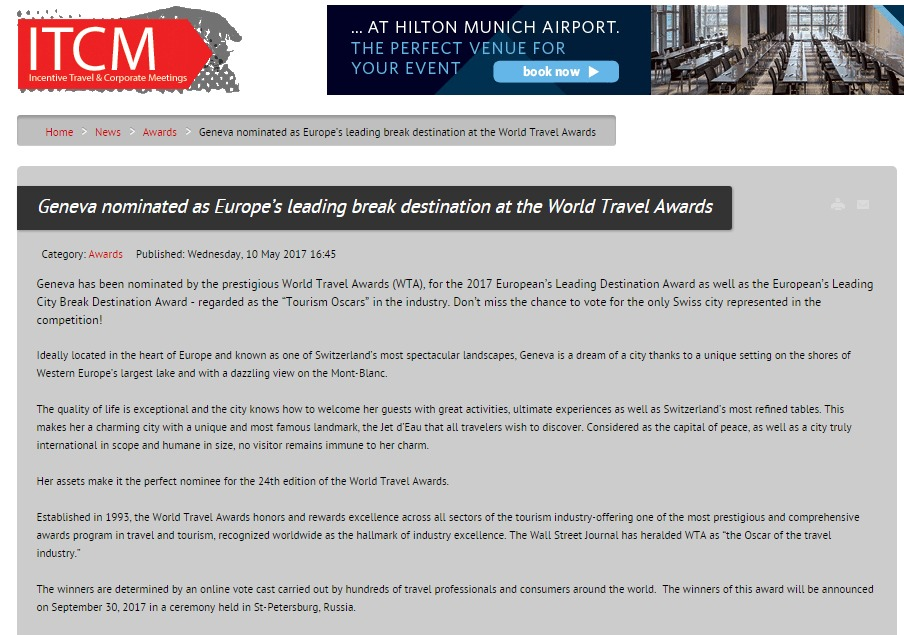 Geneva nominated as Europe's leading break destination at the World Travel Awards