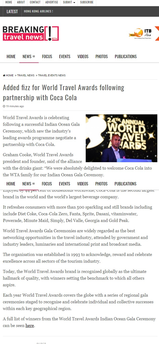 Added fizz for World Travel Awards following partnership with Coca Cola