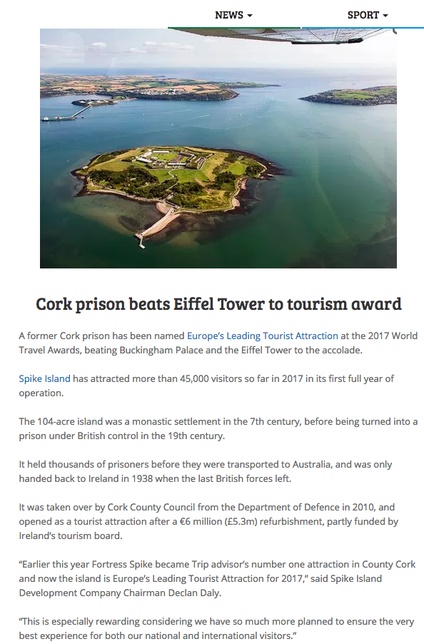 Cork prison beats Eiffel Tower to tourism award