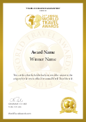 World Travel Awards Winner Certificate